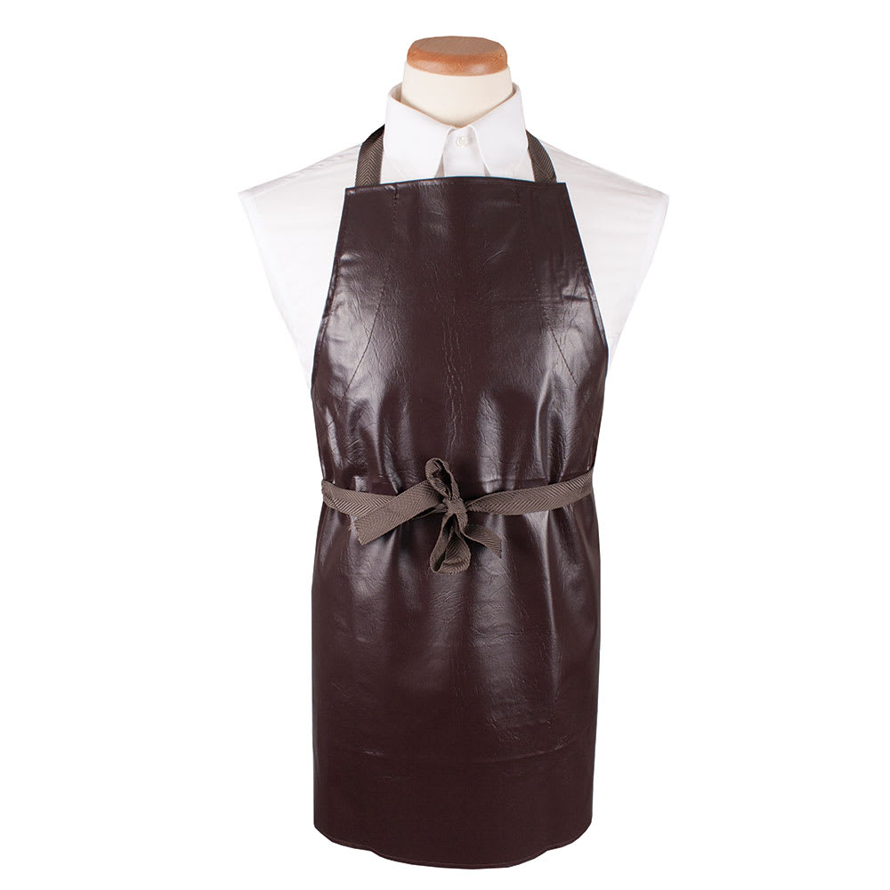 "Ritz CLVA-1 Bib Apron - 26"" x 28"", Vinyl, Brown"