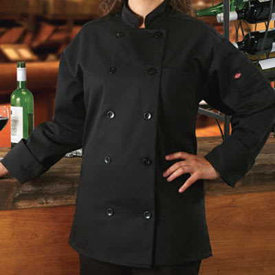 Ritz RZCOATBKSM Chef's Coat w/ Long Sleeves - Poly/Cotton, Black, Small