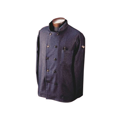 Ritz RZDCOATSM Chef's Coat w/ 3/4 Sleeves - Cotton/Spandex, Navy, Small