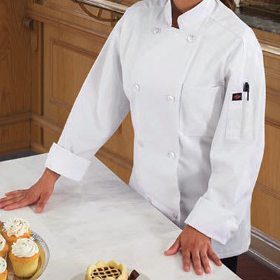 Ritz RZEC8SM Chef's Coat w/ Long Sleeves - Poly/Cotton, White, Small