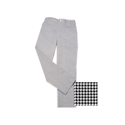 Ritz RZFC-PANTSM Chef's Pants w/ Elastic Waist - Poly/Cotton, Black/White Houndstooth, Small