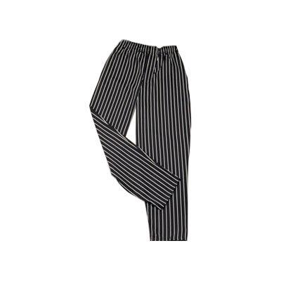 Ritz RZFS-PANT1X Chef's Pants w/ Elastic Waist - Poly/Cotton, Black/White Striped, XL