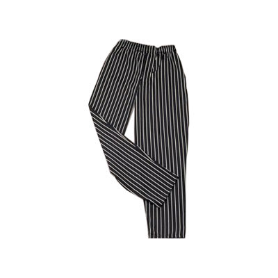 Ritz RZFS-PANTMM Chef's Pants w/ Elastic Waist - Poly/Cotton, Black/White Striped, Medium