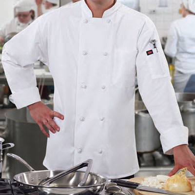 Ritz RZKBWH1X Chef's Coat w/ Long Sleeves - Poly/Cotton, White, XL