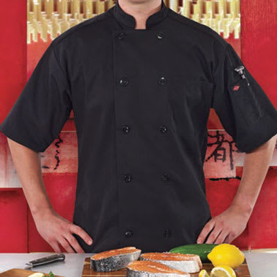 Ritz RZSSBKSM Chef's Coat w/ Short Sleeves - Poly/Cotton, Black, Small