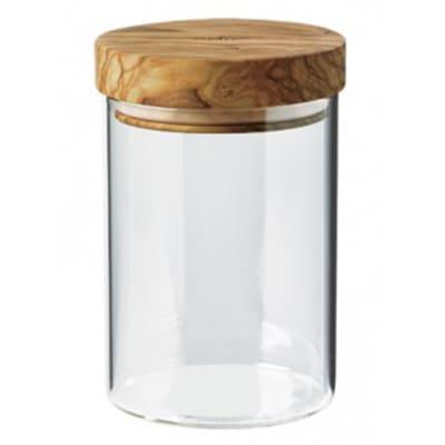 Berard BER35101 20 oz Glass Storage Jar w/ Olive Wood Lid