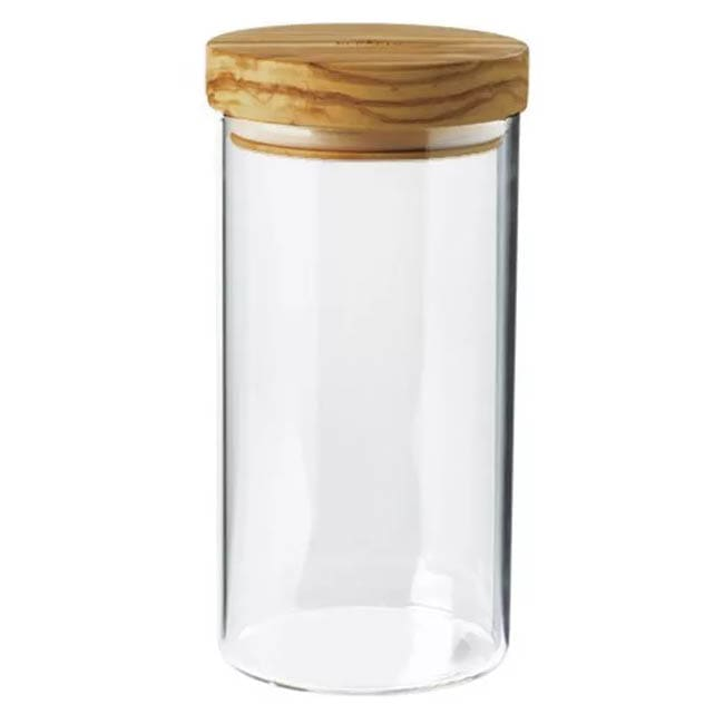Berard BER35102 30 oz Glass Storage Jar w/ Olive Wood Lid