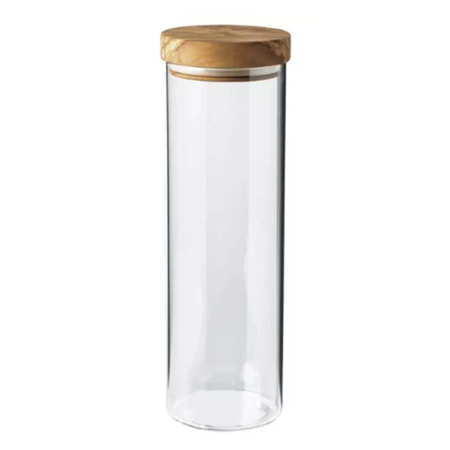 Berard BER35103 50 oz Glass Storage Jar w/ Olive Wood Lid