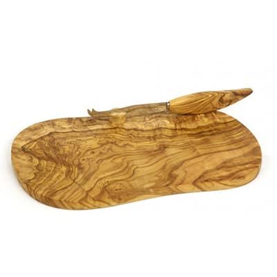 """Berard BER56178 Olive Wood Cheese Board & Knife, 11x7"""""""