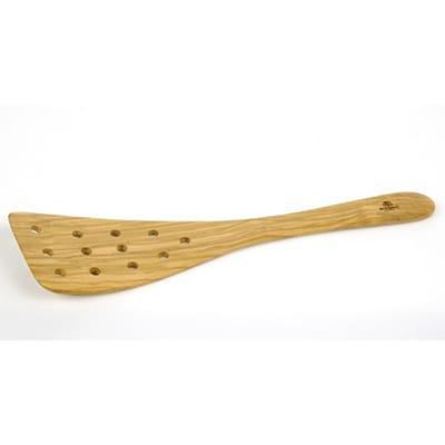 "Berard BER66476 13"" Large Olive Wood Spatula, Curved, 12-Holes"