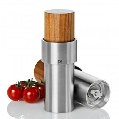 """Adhoc 78MP44 6"""" Salt or Pepper Mill, iVAN, Acacia Wood and Stainless"""