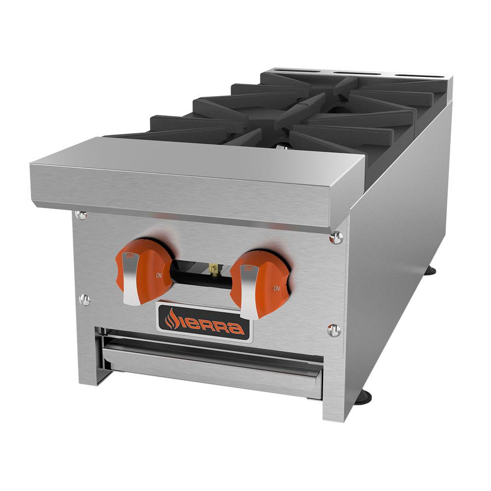 "Sierra Range SRHP-2-12 12"" Gas Hotplate w/ (2) Burners & Manual Controls"