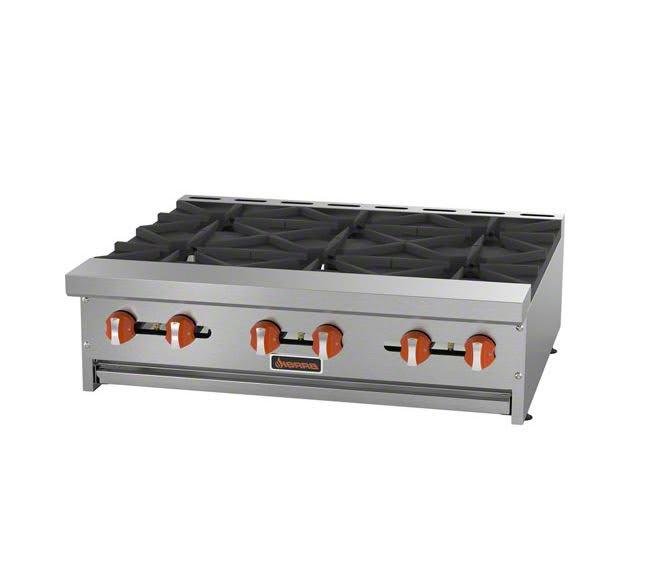 "Sierra Range SRHP-6-36 36"" Gas Hotplate w/ (6) Burners & Manual Controls"
