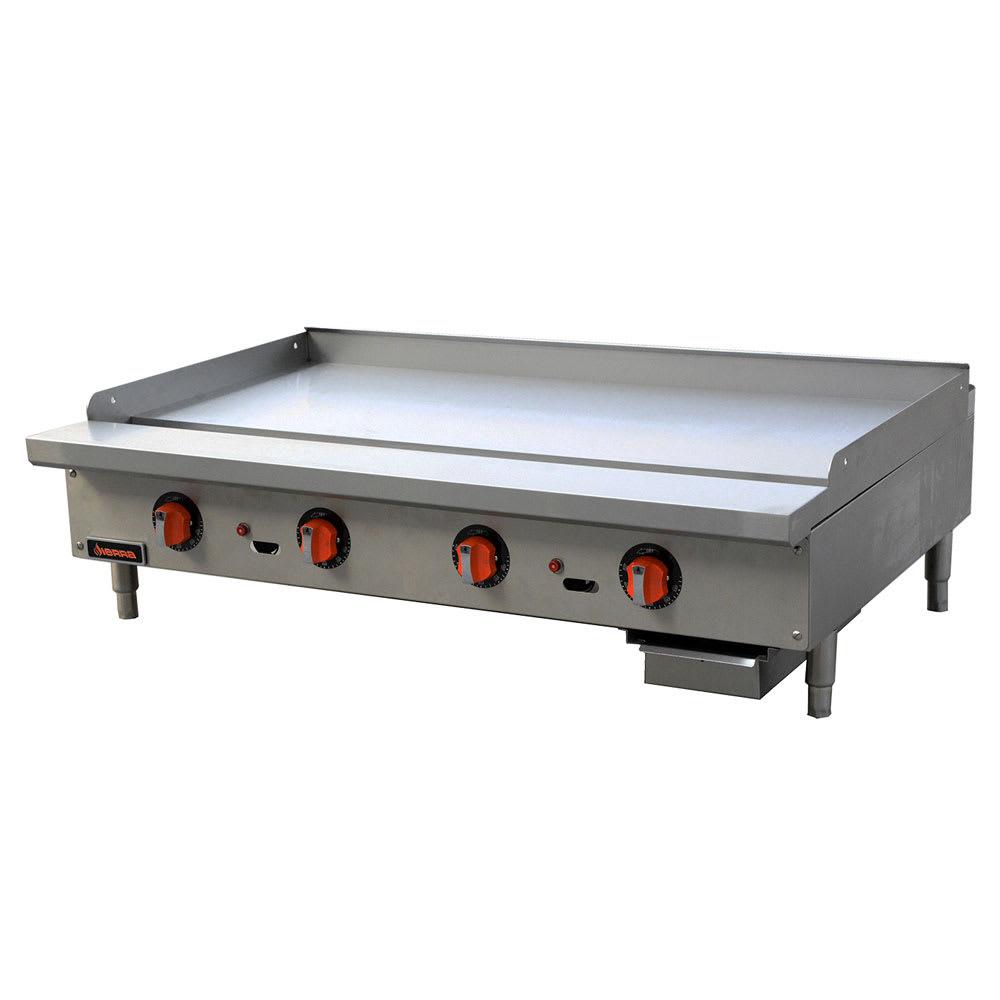 """Sierra Range SRTG-48 48"""" Gas Griddle - Thermostatic, 1"""" Steel Plate, NG"""