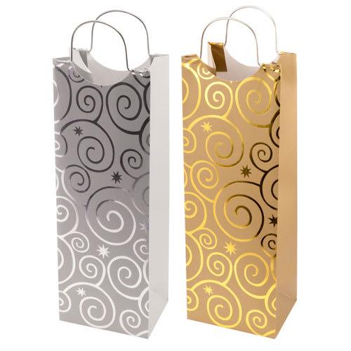 True Brands 0150 Wine Tote Bag w/ Metal Handles, Foil Embossed Flashing-Bulb Pattern, Paper