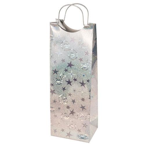 True Brands 0156 Wine Tote Bag w/ Metal Handles, Silver w/ Star & Swirl Pattern, Paper