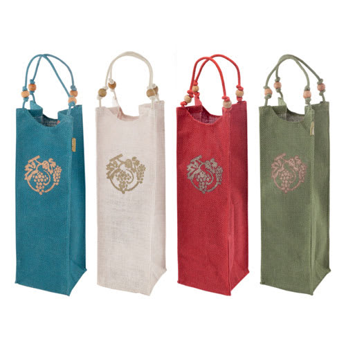 True Brands 0174 Wine Tote Bag w/ Beaded Handles, Silkscreen Grape Design, Jute Canvas
