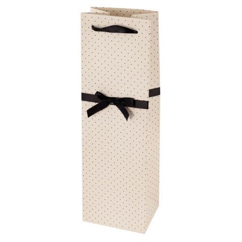 True Brands 0227 Wine Tote Bag w/ Black Ribbon Handles, White w/ Black Polka Dots, Paper