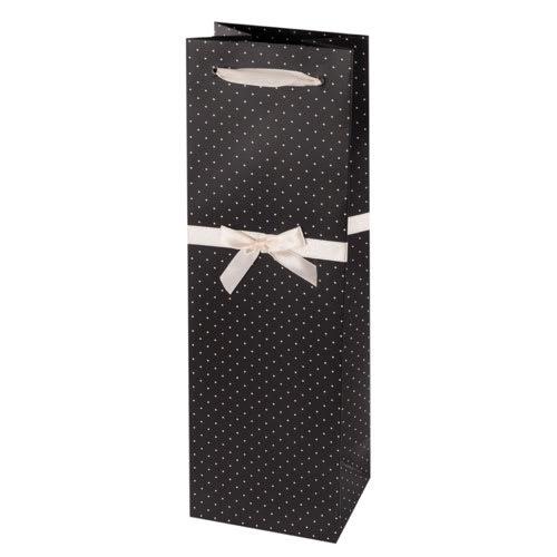 True Brands 0229 Wine Tote Bag w/ White Ribbon Handles, Black w/ White Polka Dots, Paper