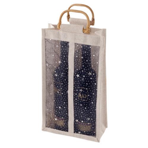 True Brands 0278 2-Bottle Wine Tote Bag w/ Bamboo Handles, Star Print w/ Vinyl Window, Jute Canvas