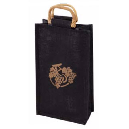 True Brands 0279 2-Bottle Wine Tote Bag w/ Bamboo Handles, Gold Ink Grape Design, All Natural Fibers