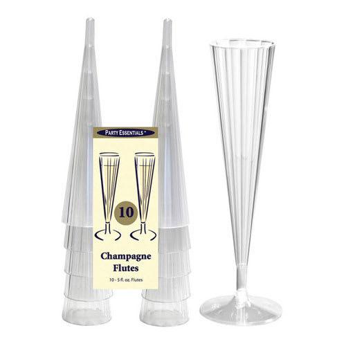 True Brands 1492 5 oz Champagne Flutes - 2 Piece Design, Plastic
