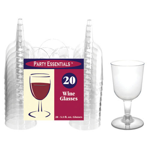 True Brands 1495 5.5 oz  Wine Glasses - 2 Piece Design, Plastic