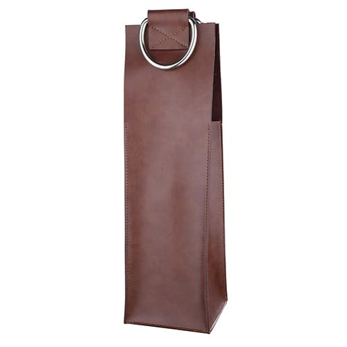 True Brands 2462 Bottle Carrier w/ Metal Handles, Chestnut Faux Leather