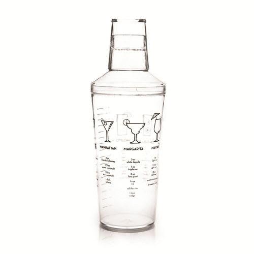 True Brands 2882 16-oz Cocktail Shaker w/ Printed Recipes, Plastic