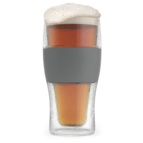 True Brands 2969 16 oz Cooling Pint Glass w/ Rubber Grip, Plastic