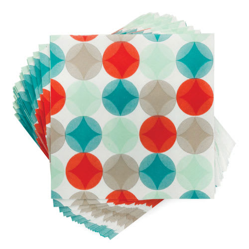 """True Brands 3226 Cocktail Napkins - Cheery Circles Pattern, 5"""" x 5"""", 3 ply"""