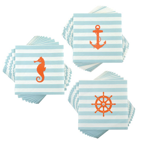 "True Brands 3233 Cocktail Napkins - Nautical Pattern, 5"" x 5"", 3-Ply"