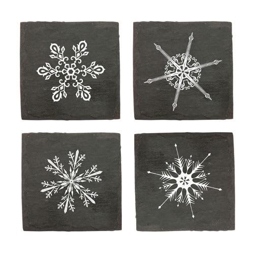 True Brands 3296 Coaster Set - Slate w/ Snowflake Print