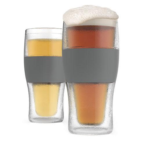 True Brands 3309 16 oz Cooling Pint Glasses w/ Rubber Grip, Plastic