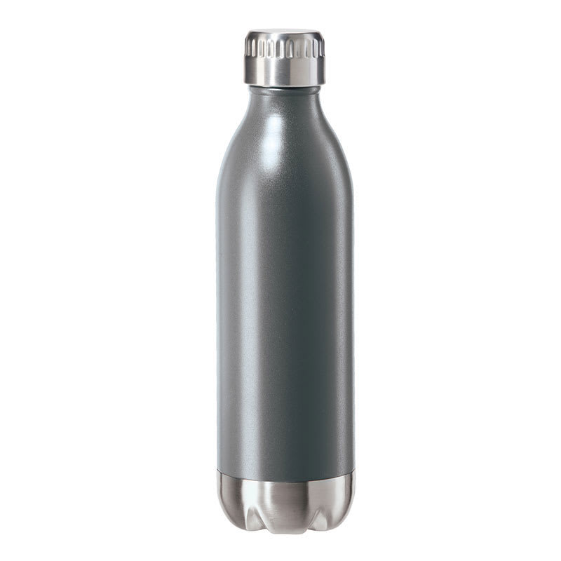 Oggi 8081.10 17-oz Sports Bottle w/ Twist-on Cap, Stainless, Gray