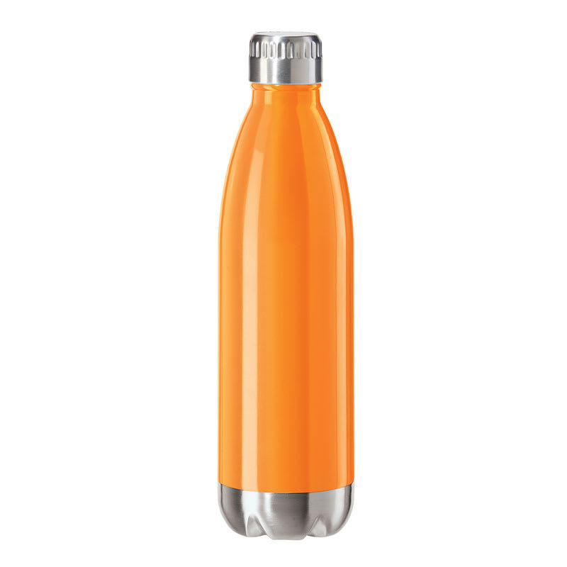Oggi 8084.12 25 oz Sports Bottle w/ Twist-on Cap, Stainless, Orange
