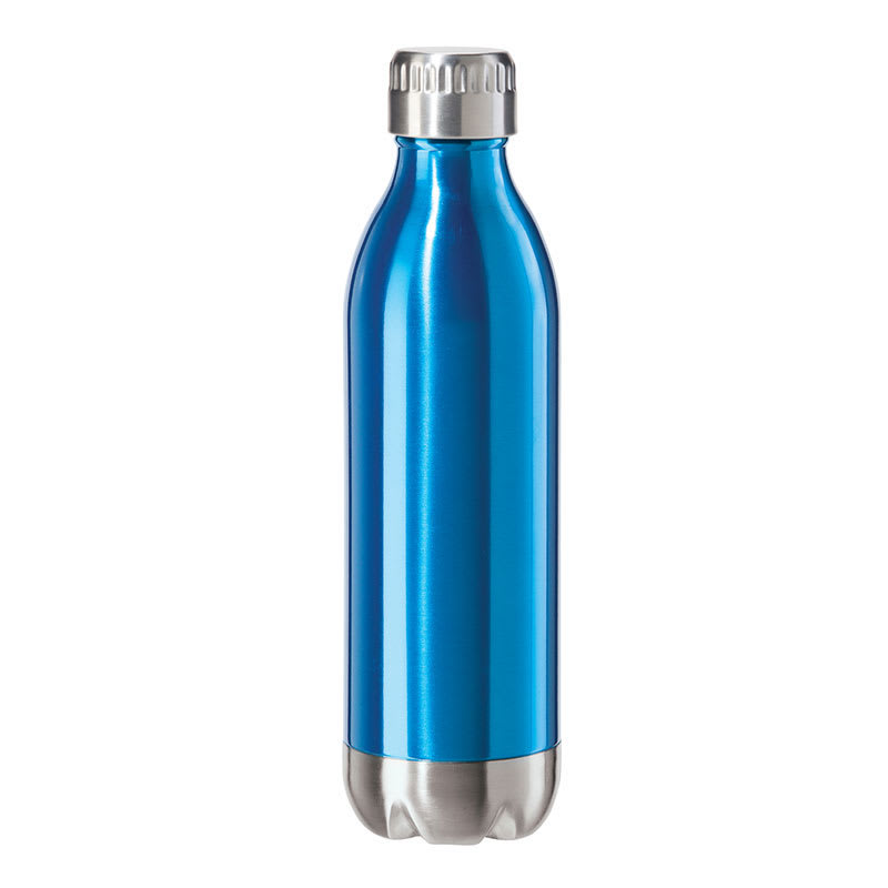 Oggi 8085.5 17-oz Sports Bottle w/ Twist-on Cap, Stainless, Blue