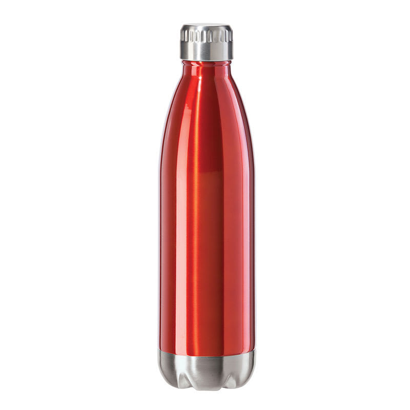 Oggi 8086.2 25-oz Sports Bottle w/ Twist-on Cap, Stainless, Red