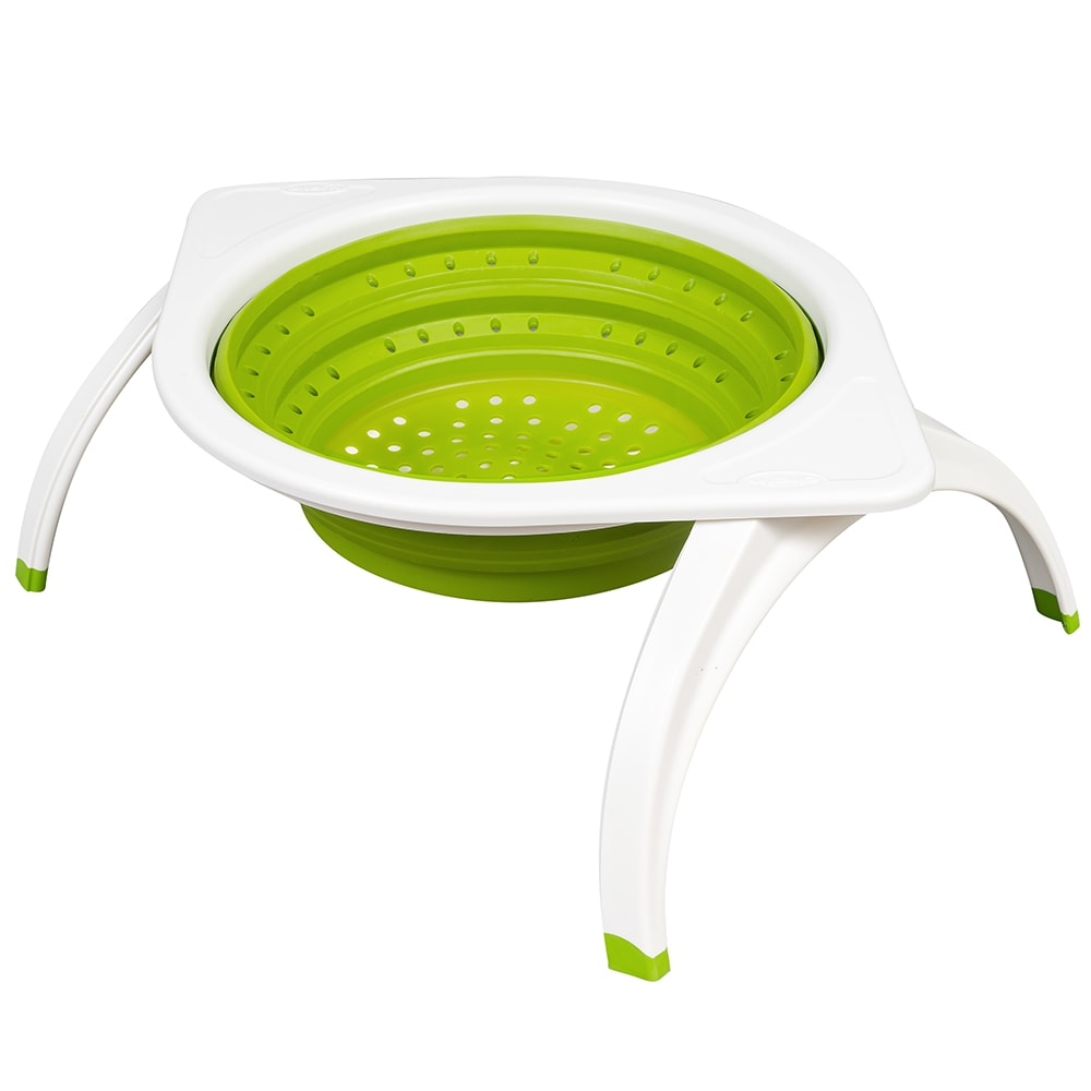 "Chef'n 102-052-011 SleekStor® 11"" Collapsible Colander w/ Feet, Green"