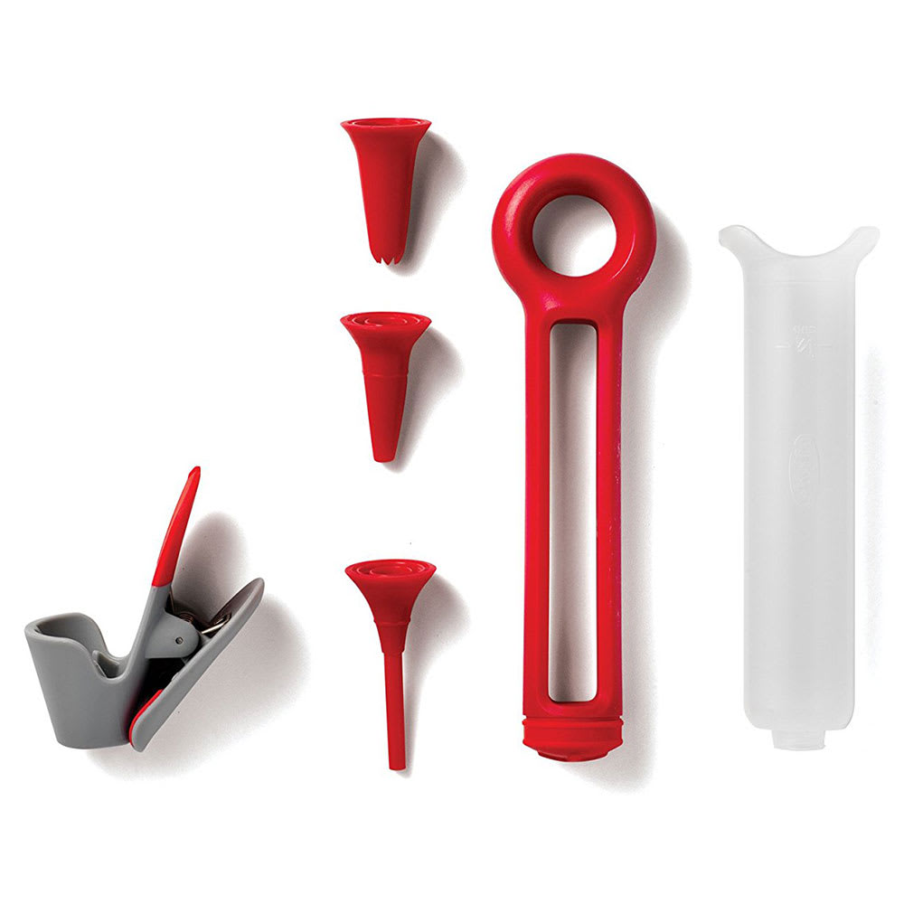 Chef'n 103-549-005 Pastry Pen w/ (3) Tips & Storage Clip, Red