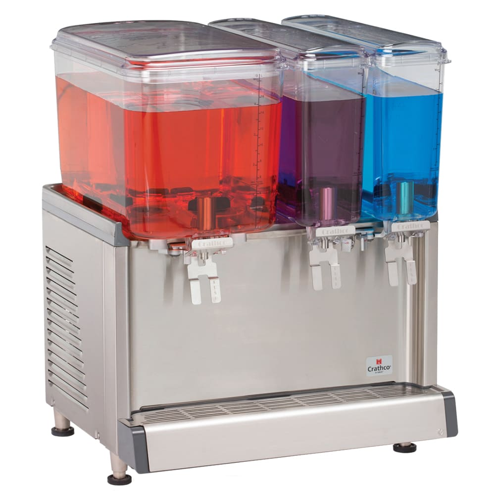 "Crathco CS-3D-16 20.4"" Pre-Mix Cold Beverage Dispenser w/ (1) 4.75 gal & (2) 2.4 gal Bowls, 120v"