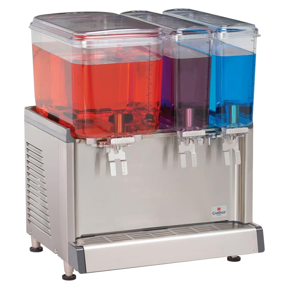 "Crathco CS-3D-16-S 20.4"" Pre-Mix Cold Beverage Dispenser w/ (1) 4.75 gal & (2) 2.4 gal Bowls, 120v"