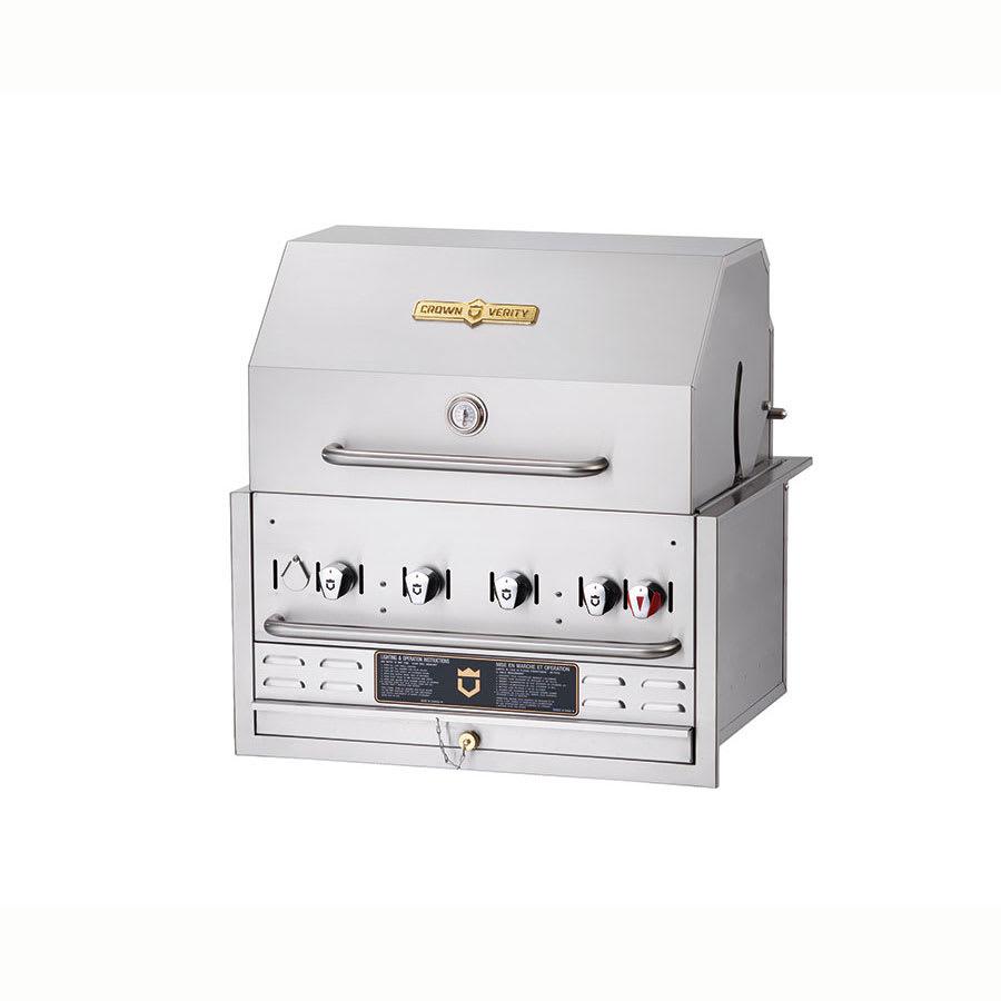 "Crown Verity BI-30PKG 30"" Built-In Gas Commercial Outdoor Grill w/ Water Pan, LP"