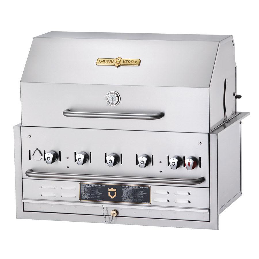"Crown Verity BI-36PKG 36"" Built-In Gas Commercial Outdoor Grill w/ Water Pan, LP"