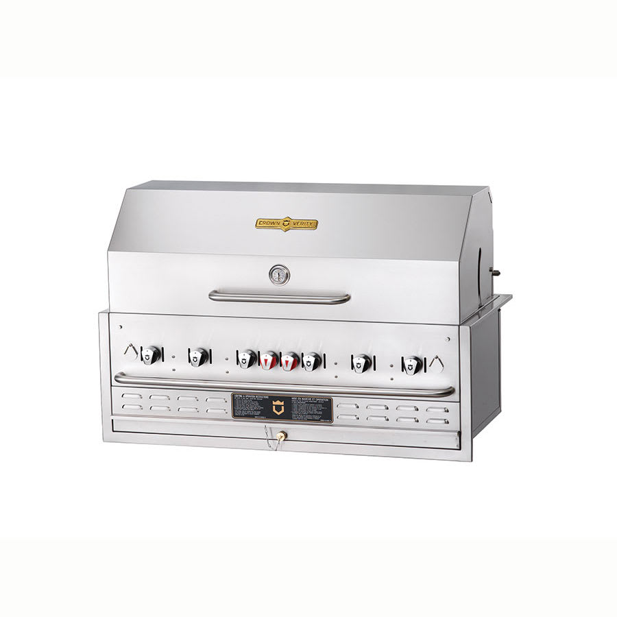 "Crown Verity BI-48PKG 48"" Built-In Gas Commercial Outdoor Grill w/ Water Pan, LP"