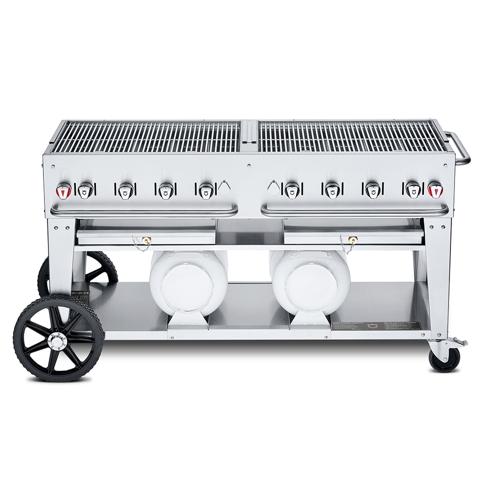 "Crown Verity CCB-60-LP 60"" Mobile Gas Commercial Outdoor Grill w/ Gas Tank Support, LP"