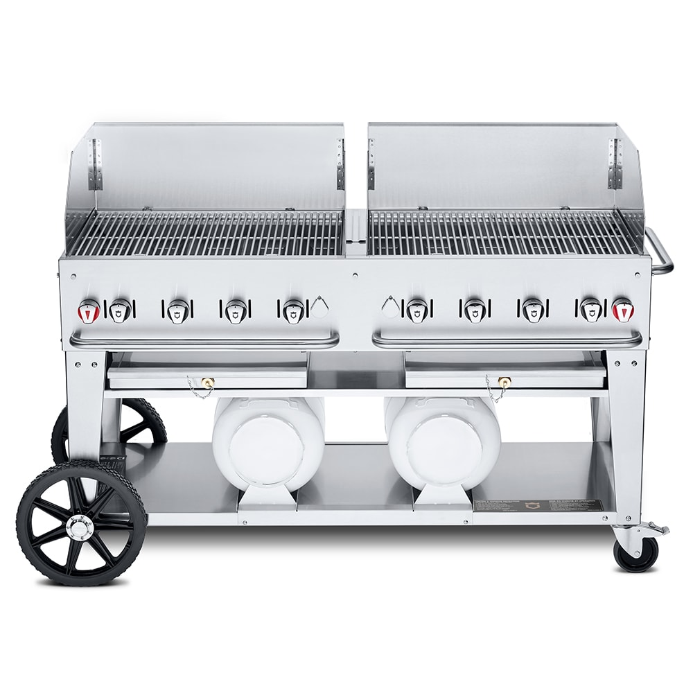"Crown Verity CCB-60WGP 60"" Mobile Gas Commercial Outdoor Grill w/ Gas Tank Support, LP"
