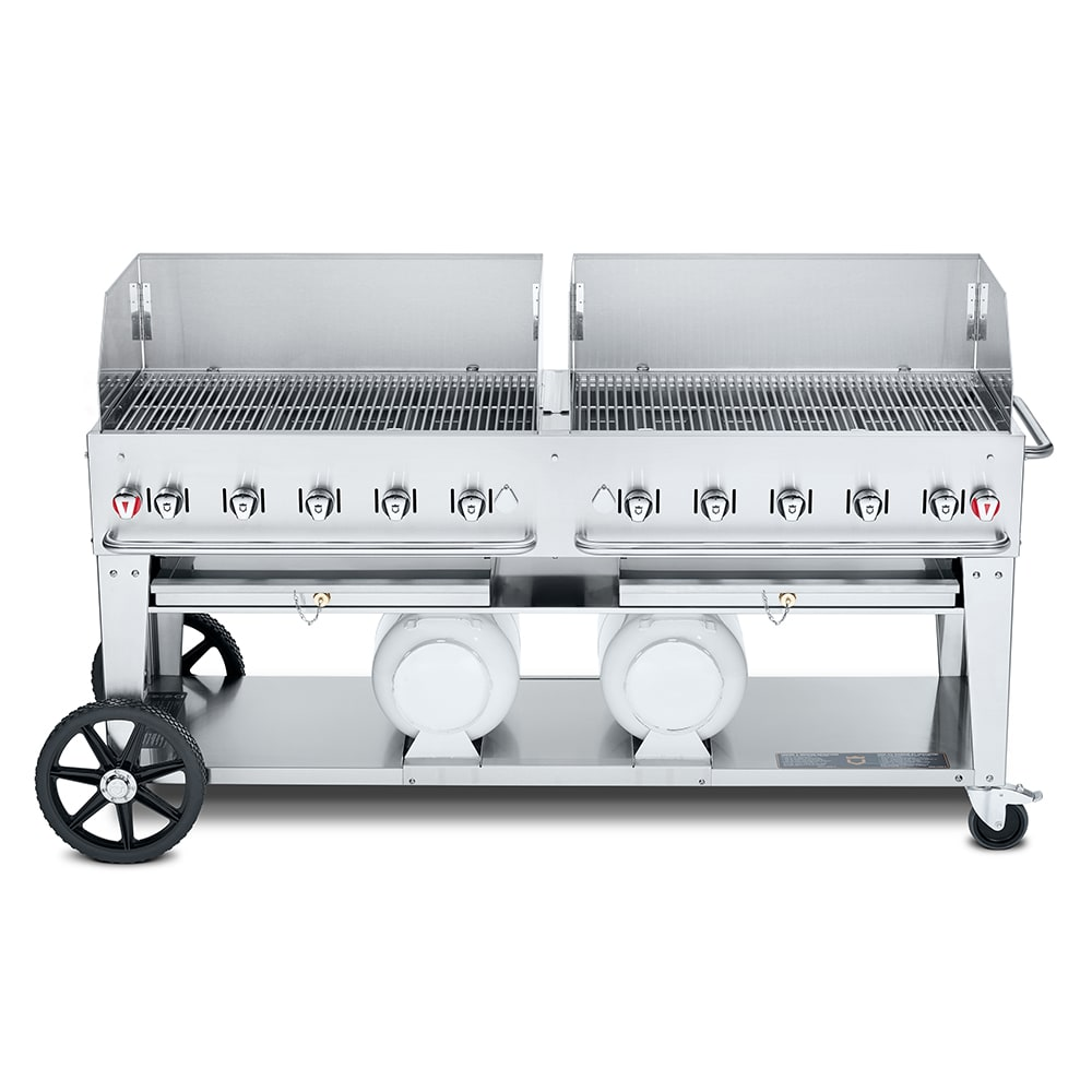 "Crown Verity CCB-72WGP 72"" Mobile Gas Commercial Outdoor Grill w/ Gas Tank Support, LP"
