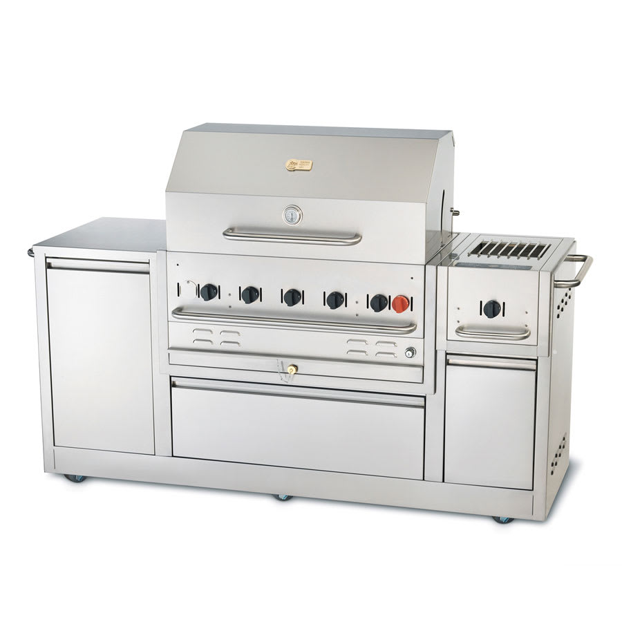 "Crown Verity CV-MBI-80 34"" Mobile Gas Commercial Outdoor Grill w/ Water Pan, LP"