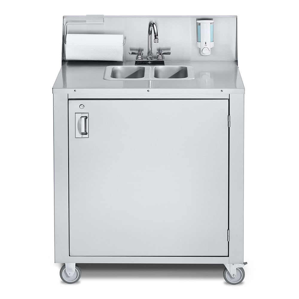 "Crown Verity CV-PHS-2 38.25""H Portable Sink w/ (2) 5""D Bowls, Hot Water"